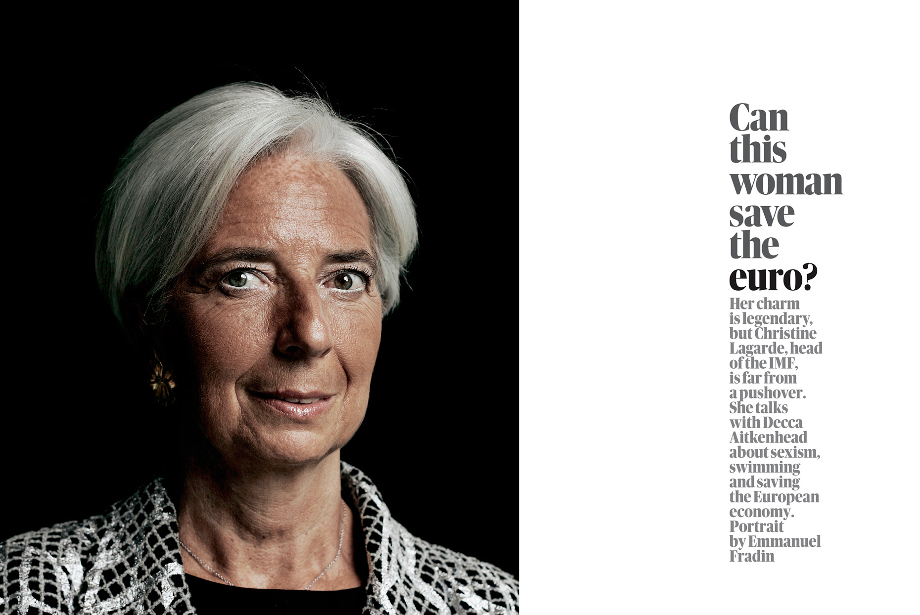 For the Guardian Week End Magazine - Christine Lagarde Managing Director of the International Monetary Fund.
