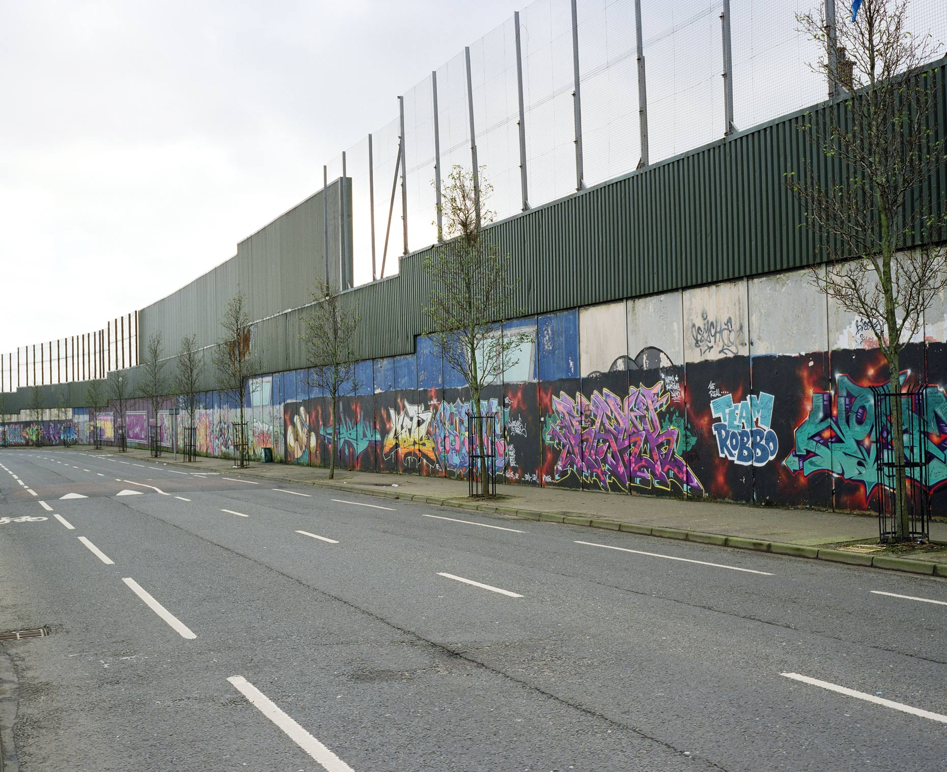 Biggest peace wall in Belfast runs along Cupar Way.