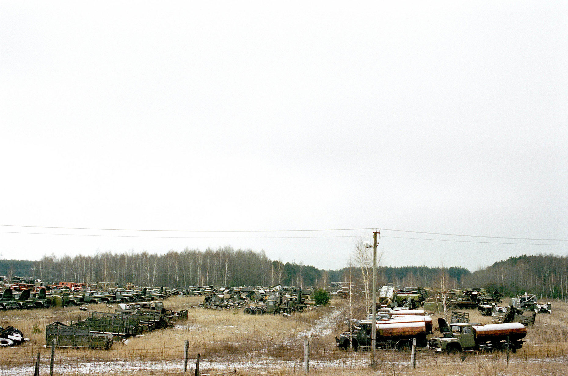 Chernobyl, contaminated vehicle graveyard near the Chernobyl nuclear power station. Ukraine.